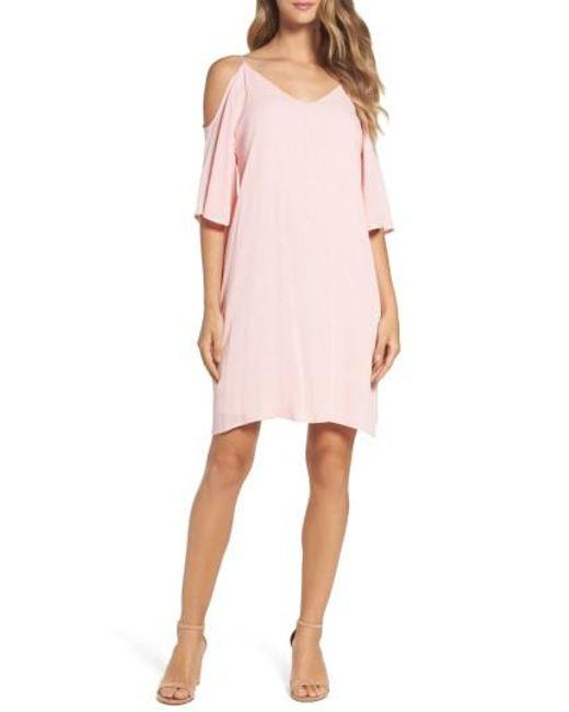 Fraiche By J | Pink Cold Shoulder Shift Dress | Lyst