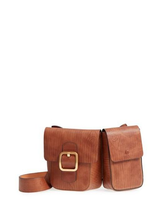 Tory Burch - Brown Sawyer Double Pocket Leather Shoulder Bag - Lyst