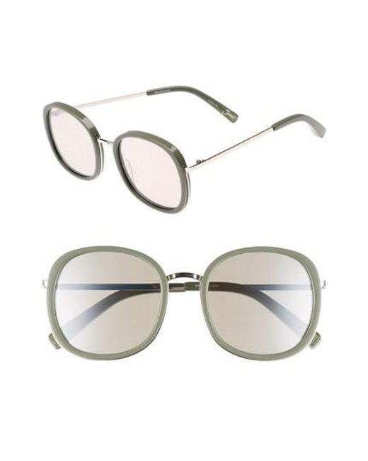 Elizabeth and James | Metallic Jones 51mm Round Sunglasses - Khaki And Silver | Lyst