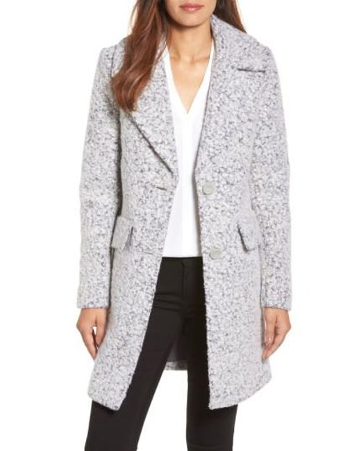 Kenneth Cole | Gray Wool Blend Boucle Coat | Lyst
