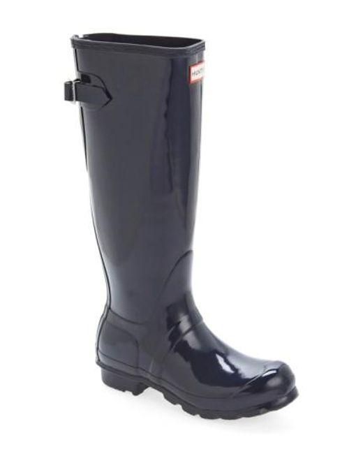 Hunter | Blue Adjustable Back Gloss Rain Boot | Lyst