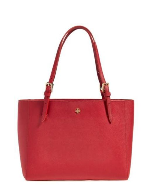 Tory Burch | Red 'small York' Saffiano Leather Buckle Tote | Lyst