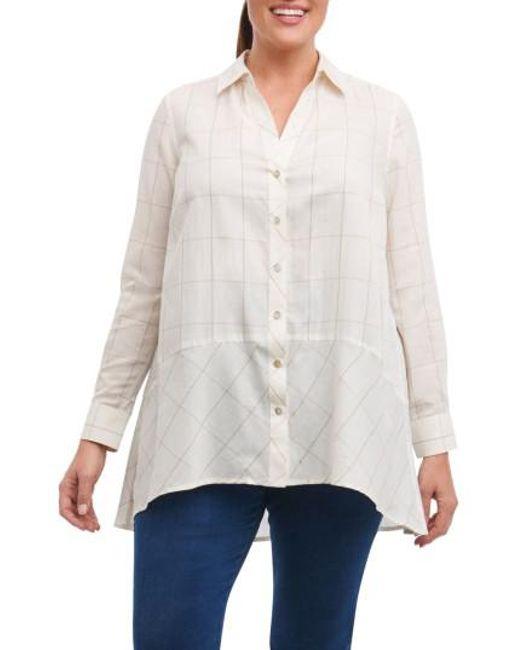 Foxcroft - White Daniela Windowpane Tunic Shirt - Lyst