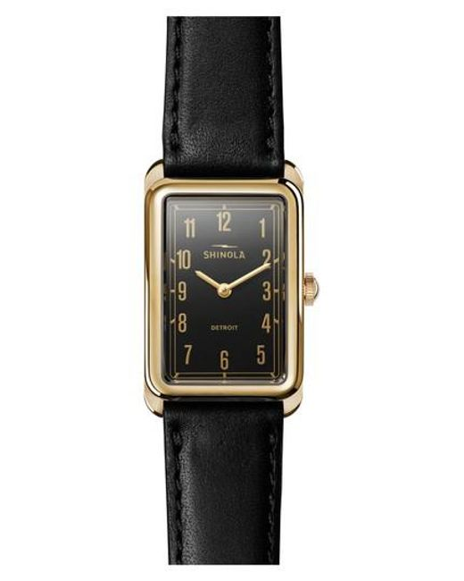 Shinola | Black The Muldowney Rectangular Leather Strap Watch | Lyst
