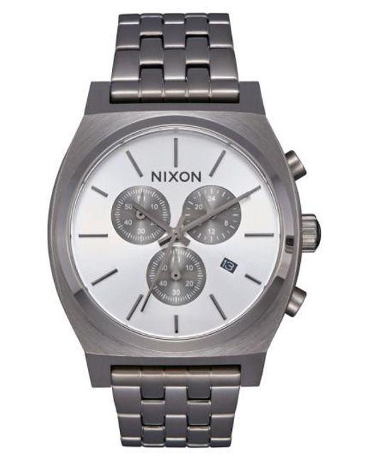 Nixon   Metallic 'the Time Teller' Chronograph Bracelet Watch   Lyst