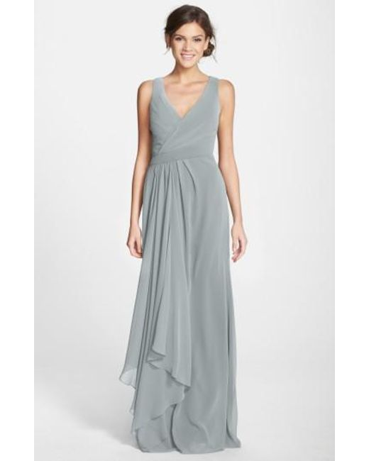 Monique Lhuillier Bridesmaids | Gray Sleeveless V-neck Chiffon Gown | Lyst