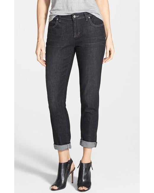 Eileen Fisher | Black Organic Cotton Boyfriend Jeans | Lyst