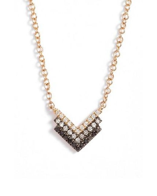 EF Collection | Metallic Diamond Shield Pendant Necklace | Lyst