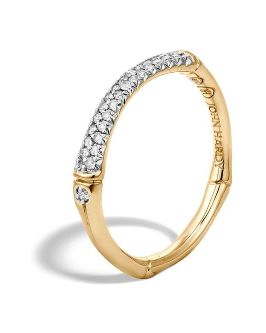 John Hardy - Metallic Band Ring With Diamonds - Lyst
