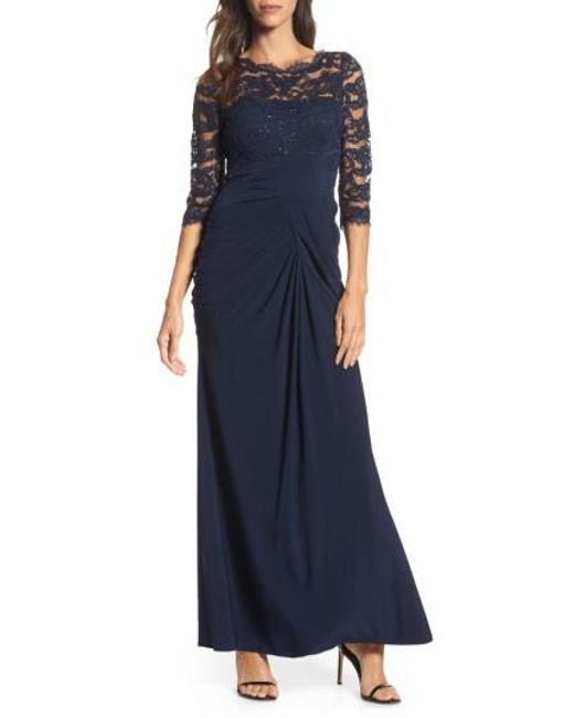 Adrianna Papell | Blue Lace & Draped Jersey Gown | Lyst