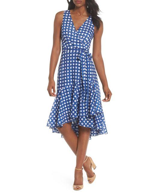b00437716625 Lyst - Eliza J Ruffle Hem High low Faux Wrap Dress in Blue - Save 63%