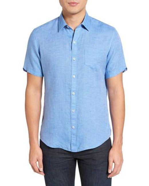 Zachary Prell - Blue Kaplan Slim Fit Linen Sport Shirt for Men - Lyst
