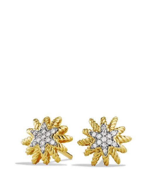 David Yurman - Metallic Diamond 18k Yellow Gold Earrings - Lyst