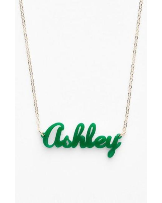 Moon & Lola   Green 'script Font' Personalized Nameplate Pendant Necklace   Lyst