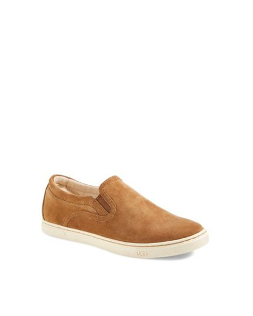 UGG | Brown 'Fierce' Water Resistant Suede Slip-On Sneaker (Nordstrom Exclusive Color) (Women) | Lyst