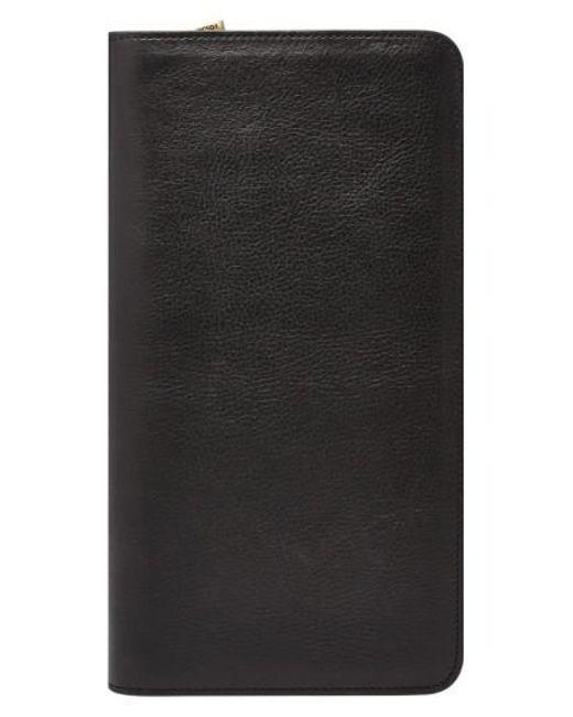 Fossil | Black Leather Zip Passport Case for Men | Lyst