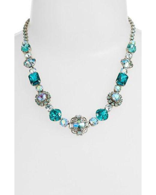 Sorrelli - Blue Sunflower Crystal Necklace - Lyst