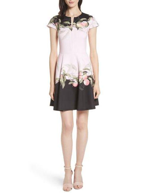 Ted Baker | Pink Peach Blossom Jersey Skater Dress | Lyst