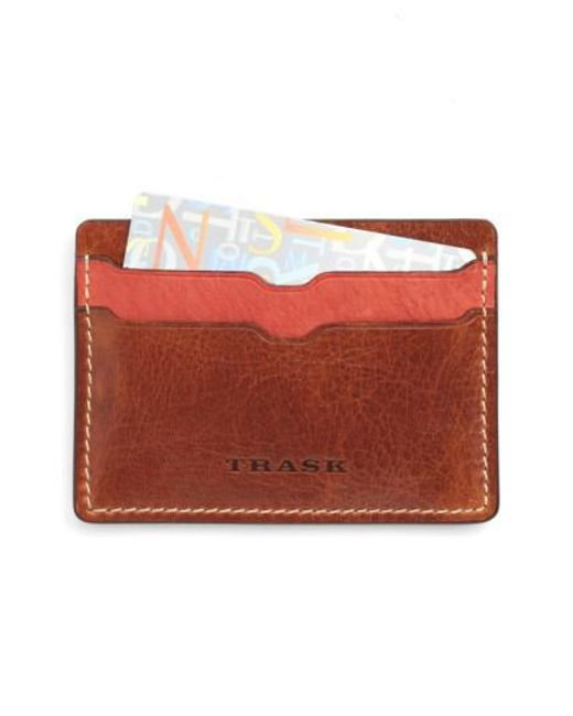 Trask | Red 'jackson' Bison Leather Card Case for Men | Lyst