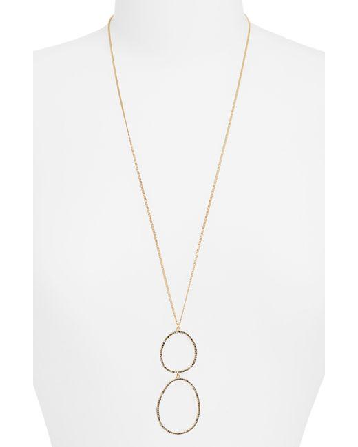 Sole Society - Metallic Rhinestone Hoop Pendant Necklace - Lyst