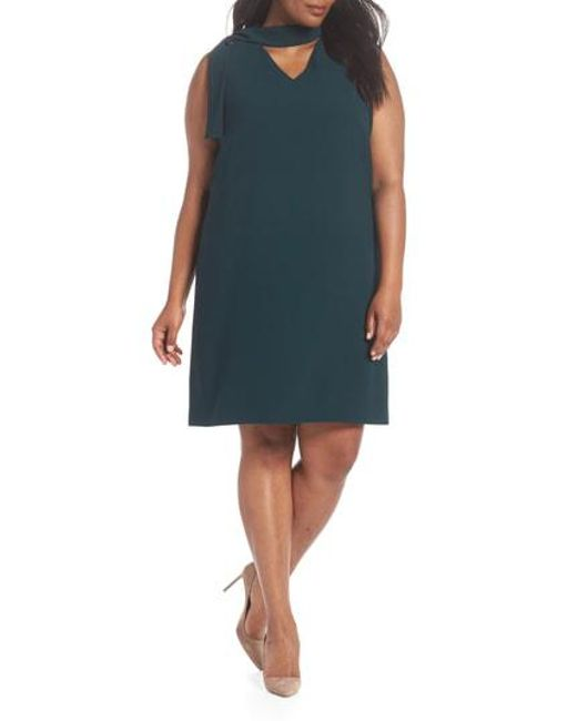 Tahari - Blue Neck Sash Crepe Sheath Dress - Lyst