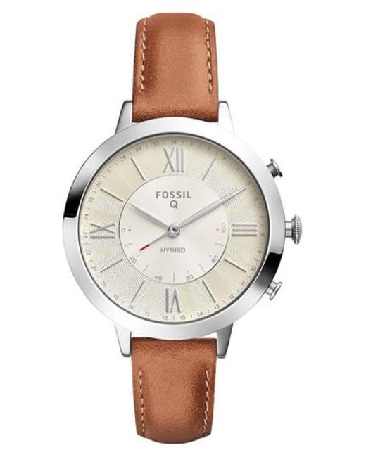Fossil - Metallic Jacqueline Leather Strap Hybrid Smart Watch - Lyst