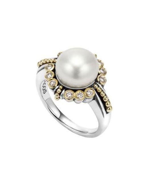 Lagos | Metallic Luna Diamond & Pearl Ring | Lyst