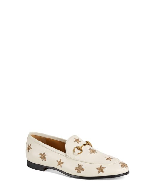 Gucci - Black Jordaan Embroidered Bee Loafer - Lyst