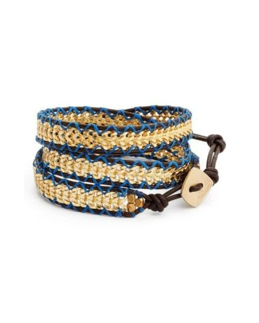 Nakamol | Metallic Chain & Leather Wrap Bracelet | Lyst
