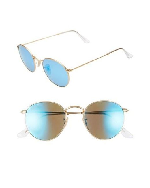 Ray-Ban | Blue 50mm Round Polarized Sunglasses | Lyst