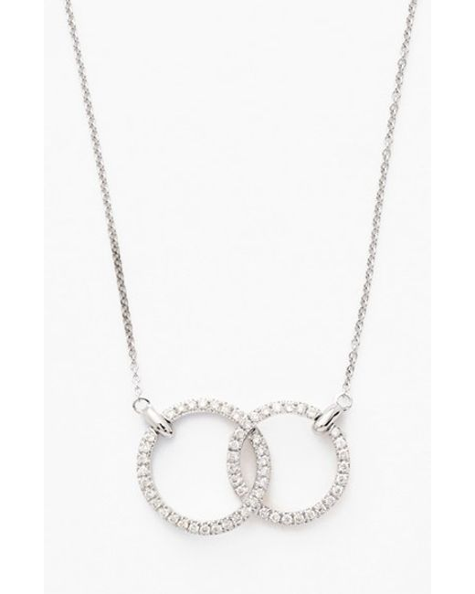 Bony Levy   Metallic Double Diamond Circle Pendant Necklace (nordstrom Exclusive)   Lyst