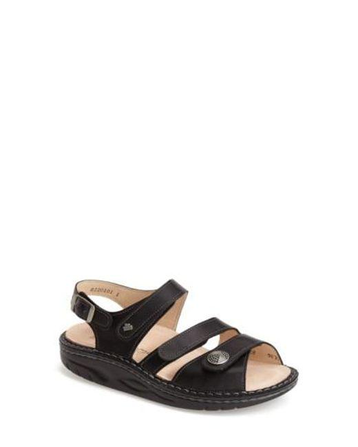 Finn Comfort - Black 'tiberias' Leather Sandal - Lyst