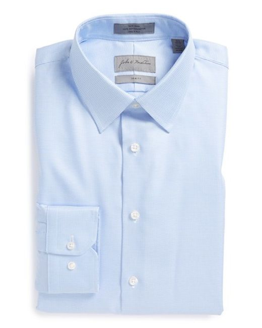 John W. Nordstrom   Blue John W. Nordstrom Trim Fit Non-iron Houndstooth Dress Shirt for Men   Lyst