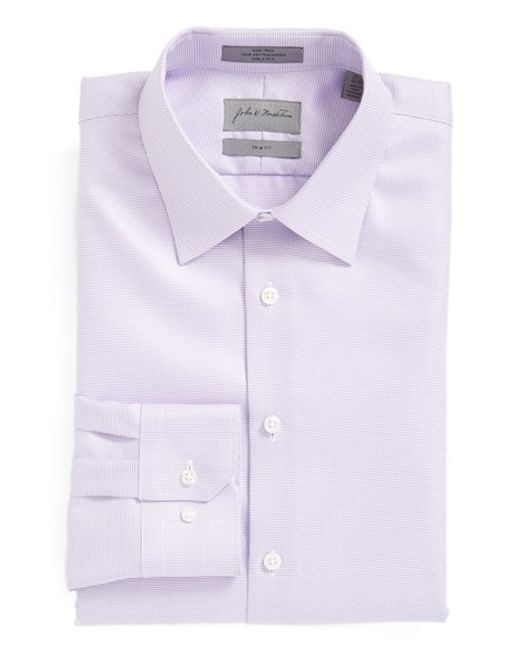 John W. Nordstrom | Purple John W. Nordstrom Trim Fit Non-iron Houndstooth Dress Shirt for Men | Lyst