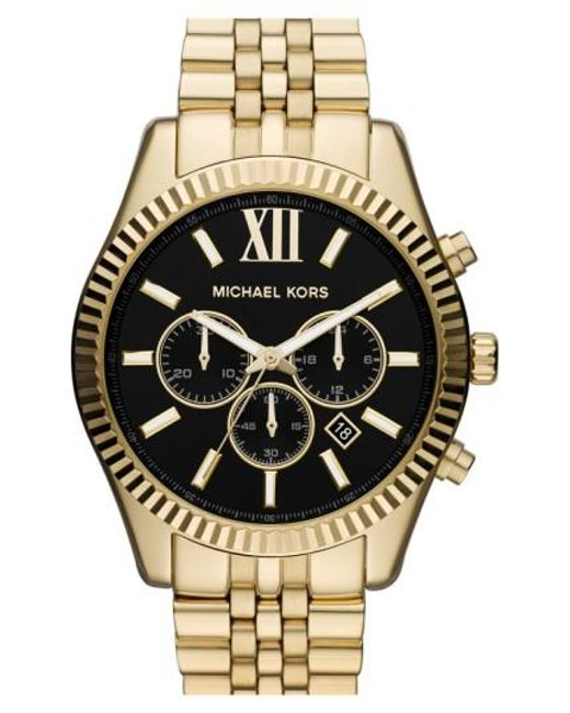 Michael Kors | Metallic Michael Kors 'large Lexington' Chronograph Bracelet Watch | Lyst