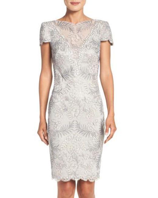 Tadashi Shoji | Gray Lace Sheath Dress | Lyst