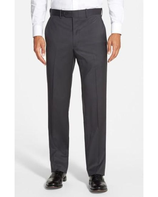 JB Britches | Gray 'torino' Flat Front Wool Trousers for Men | Lyst