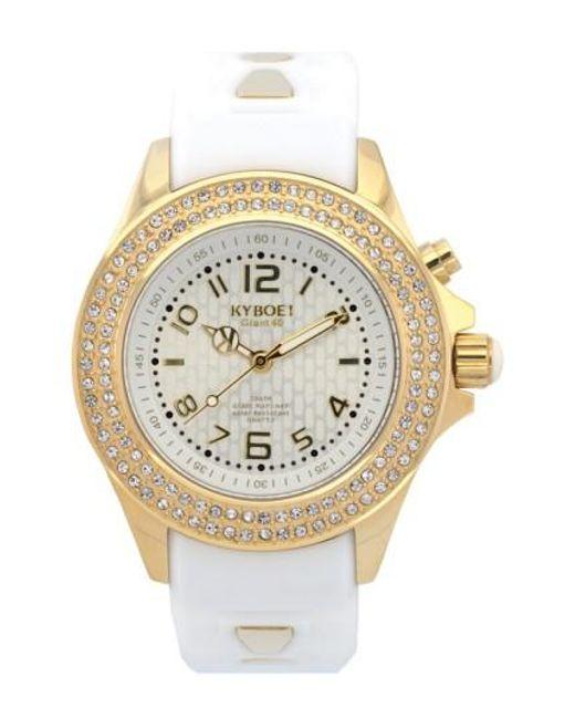 Kyboe | Metallic ! 'radiant' Crystal Bezel Silicone Strap Watch | Lyst