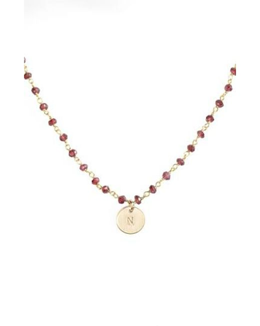 Nashelle | Metallic 14k-gold Fill Mini Initial Disc Garnet Chain Necklace | Lyst