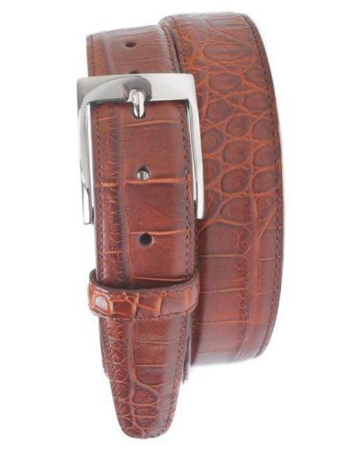 Martin Dingman | Brown 'wellington' Matte Finish Genuine Alligator Leather Belt for Men | Lyst
