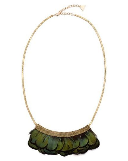 Serefina - Metallic Feather Bib Necklace - Lyst