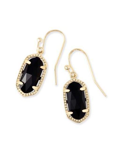Kendra Scott - Black Lee Small Drop Earrings - Lyst