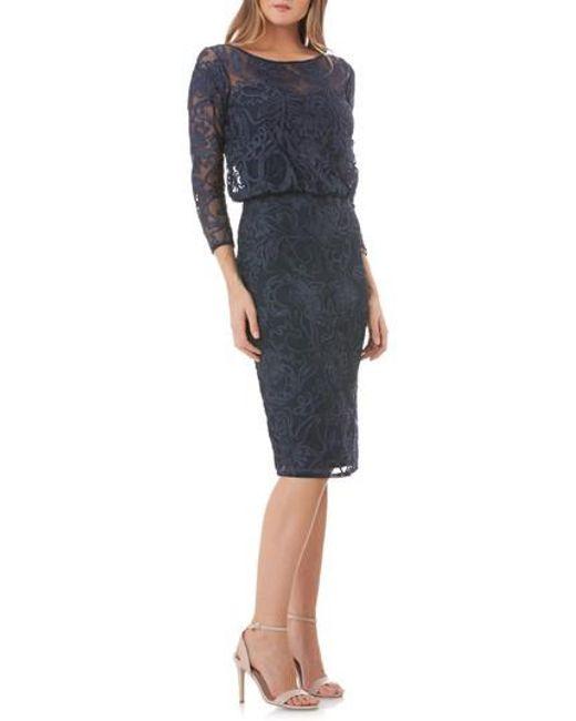 JS Collections - Blue Lace Blouson Cocktail Dress - Lyst