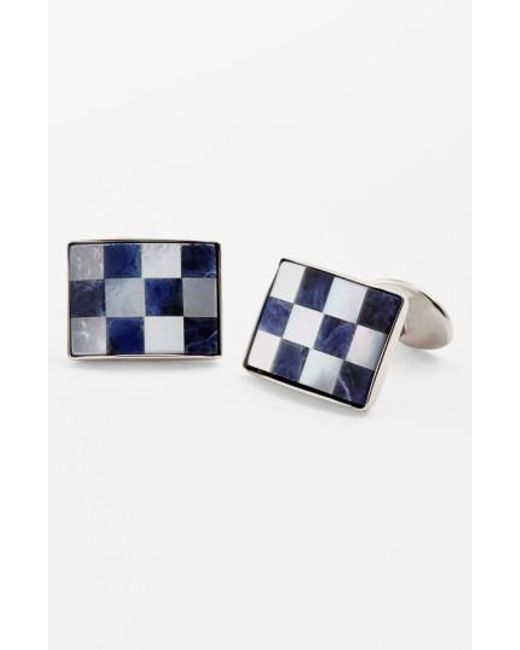 David Donahue | Blue Checkerboard Cuff Links for Men | Lyst