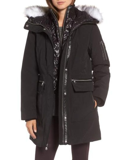 Vince Camuto | Black Bib Insert Down & Feather Fill Coat | Lyst