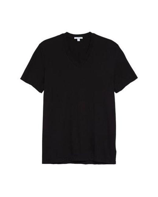 James Perse - Black Short Sleeve V-neck T-shirt for Men - Lyst