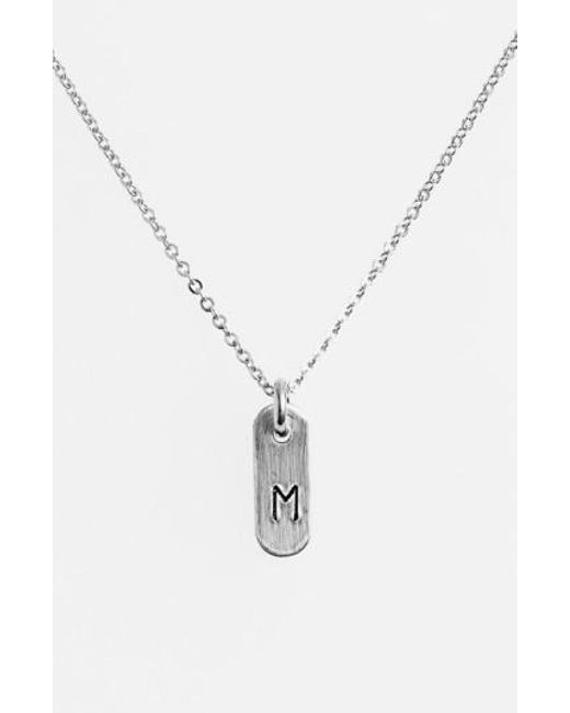 Nashelle   Metallic Sterling Silver Initial Mini Bar Necklace   Lyst