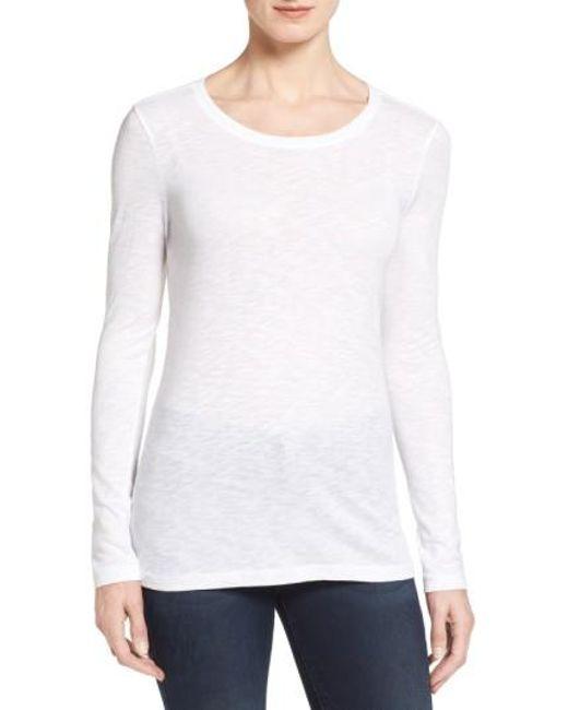 Caslon | White Caslon Long Sleeve Slub Knit Tee | Lyst