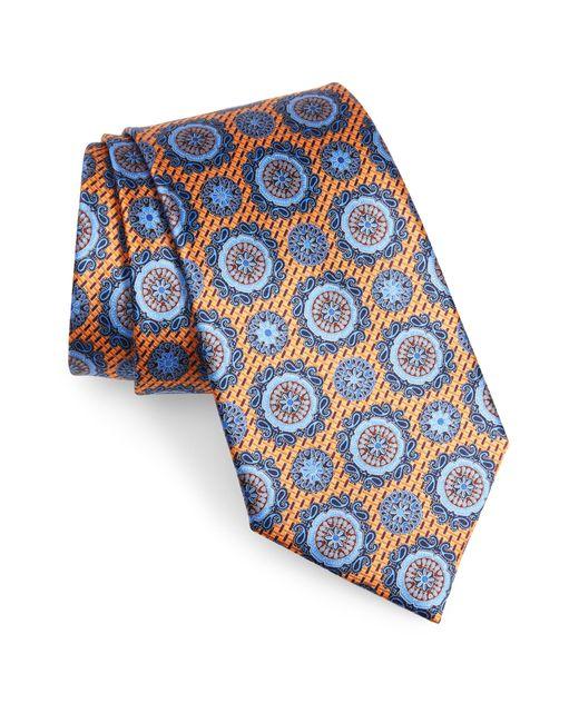 Ermenegildo Zegna Yellow Medallion Silk Tie for men