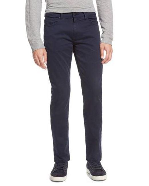 PAIGE - Blue 'federal' Slim Straight Leg Twill Pants for Men - Lyst